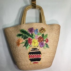 Vintage Oversized Floral Straw Bag